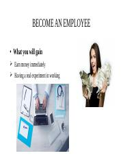 BECOME AN EMPLOYEE