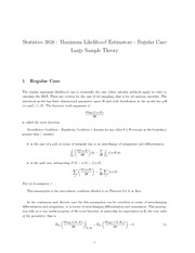 14. Maximum Likelihood Estimators - Regular Case (Jan28,31)