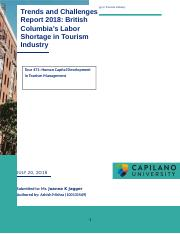 Trends and Challenges Report 2018 British Columbia's Labor Shortage in Tourism Industry.docx