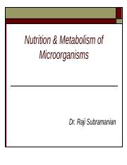 BIO 150 - Nutrition &  Metabolism of Microorganisms