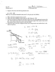 Microeconomic Theory Problem Set 15 with Answers