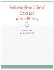 5. Professionalism-Codes of Ethics and Whistle-Blowing-Spring 2014