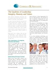The Roles of Leadership integrity