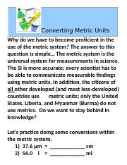 June 12.Practice Converting Metric Units ACCOMMODATION