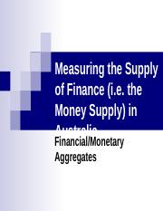 9. Measuring the Supply of Finance