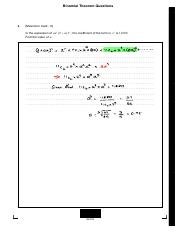 Binomial Theorem Questions Answer Key Binomial Theorem Questions U20138 U2013 N17 5 Matme Sp2 Eng Tz0 Xx Maximum Mark 6 In The Expansion Of Ax3 2 Ax 11 Course Hero