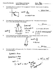 Law of Sines and Cosines Review SOLUTIONS - Honors Pro ...