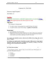 Elementary English - ENG001 Fall 2008 Assignment 01.doc
