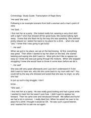 Criminology- Study Guide- Transcription of Rape Story