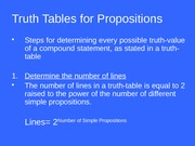 6.3 Truth Tables for Propositions