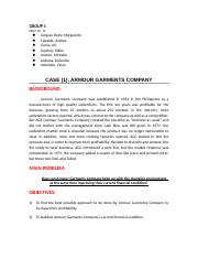 CASE ANALYSIS: Armour Garments Company