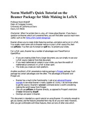 Norm Matloff's Quick Tutorial on the Beamer Package for Slide Making in LaTeX
