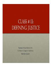 Business Ethics Class 13 - Defining Justice