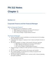 Book Notes Chapter 1 - Corporate Finance and the Financial Manager