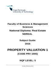 PROPERTY VALUATION 1 FT  2016 SUBJECT GUIDE.doc