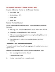 An Economic Analysis of Financial Structure Notes