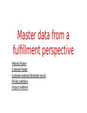 Master data from a fulfillment perspective