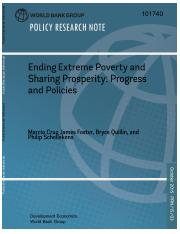 Policy Research Note No.3 Ending Extreme Poverty and Sharing Prosperity  Progress and Policies