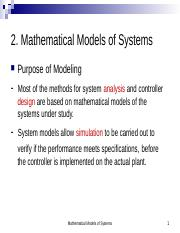 2. Mathematical Models of Systems