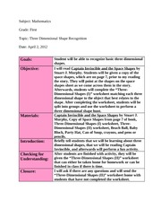 Three Dimensional Shapes Lesson Plan