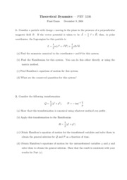 Sample Final Exam 1 on Theoretical Dynamics