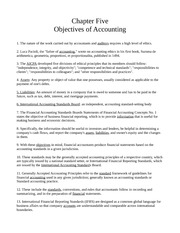 Chapter Five - Objectives of Accounting