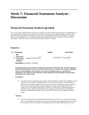 ACCT 212 Week 7 DQ 1 Financial Statement Analysis