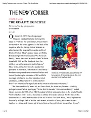 Reality Television and American Culture : The New Yorker