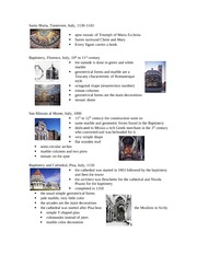 Lecture 6 notes - Romanesque Italy and Gothic I