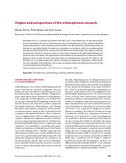 Origins and perspectives of the schizophrenia research