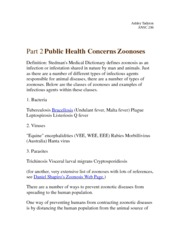 Part 2 Public Health Concerns Zoonoses   Notes
