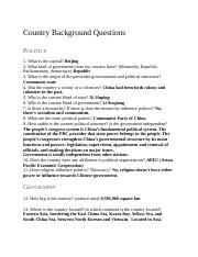 Country Background Questions-China by James Lee