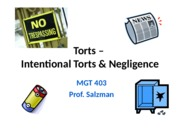 MGT 403 Intentional Torts and Negligence