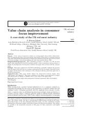 Value chain analysis in consumer focus improvement A case study of the UK red meat industry