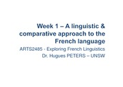 Week1 – A linguistic  comparative approach