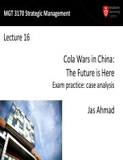 MGT3170 Lecture16-Exam practice case analysis-Cola Wars in China-2015