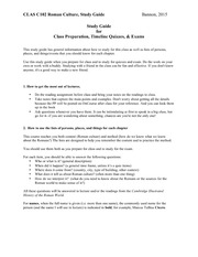 Guide to study for class preparation, quizzes, exams