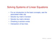 34. Solving systems of linear equations