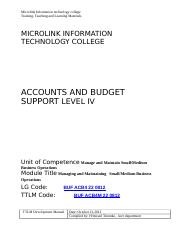 B22 Docx Microlink Information Technology College Training Teaching And Learning Materials Microlink Information Technology College Accounts And Course Hero