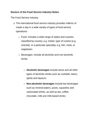 Sectors of the Food Service Industry Notes