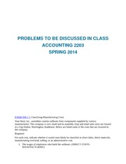 Problems to be Discussed in Class ACC 2203 Spring 2014