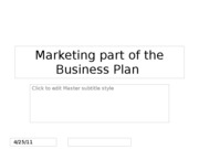 Marketing part of Business plan