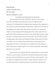 Civil Rights Movement Reflection Paper