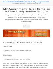 CHANGING ECONOMIES OF ASIA  My Assignment Help  Samples & Case Study Review Sample.pdf
