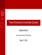 Three-Dimensional Coordinate Systems