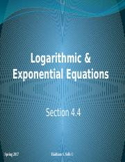 Logarithmic and Exponential Equations Section 4.4 (1)