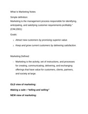 What Is Marketing Notes