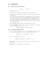 Stochastic Integrals Notes