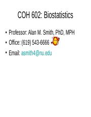 COH 602 : Biostatistics - National University College - Course