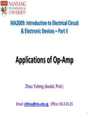 MA2009 Part 2_Lecture 5 (Application of Op Amp)